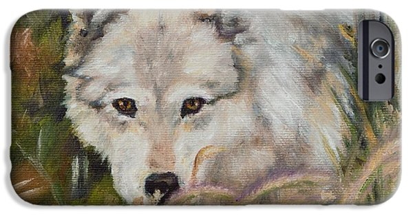 Power iPhone Cases - Wolf Among Foxtails iPhone Case by Lori Brackett