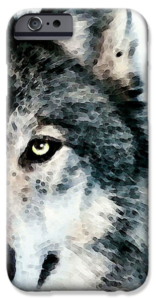 Modern Digital Art iPhone Cases - Wolf Art - Timber iPhone Case by Sharon Cummings