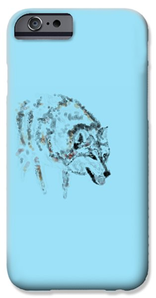 Gray Hair iPhone Cases - Wolf iPhone Case by Barbara Moignard