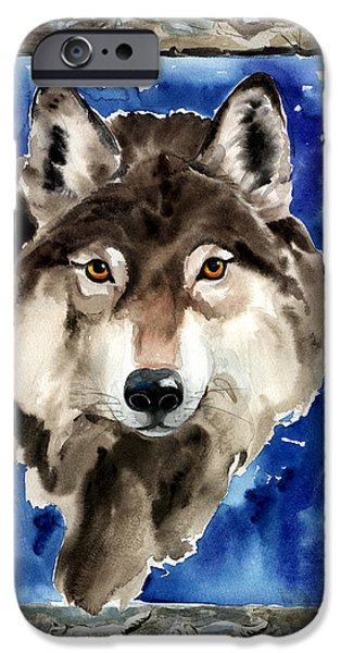 Nadi Spencer iPhone Cases - Wolf iPhone Case by Nadi Spencer