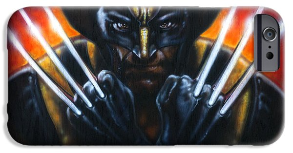 Airbrush iPhone Cases - Wolverine iPhone Case by Tim  Scoggins