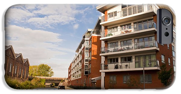 Milton Keynes iPhone Cases - Wolverton Park canalside flats iPhone Case by David Isaacson