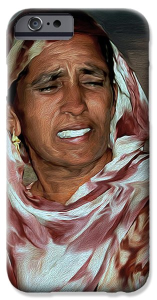 One iPhone Cases - Woman A Struggler iPhone Case by Manjot Singh Sachdeva