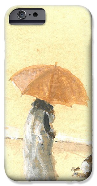 Women Together iPhone Cases - Woman and Child on Beach iPhone Case by Lincoln Seligman