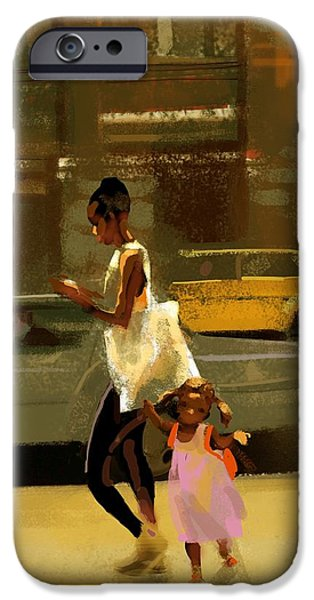 Relationship iPhone Cases - Woman And Child Walking Down City iPhone Case by Gillham Studios