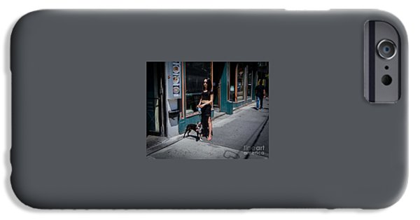 Dave iPhone Cases - Woman and Her Dog iPhone Case by Dave Hood