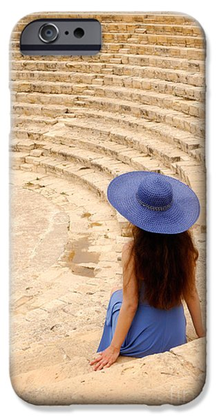 Woman at Greco-Roman Theatre at Kourion Archaeological Site in C iPhone Case by Oleksiy Maksymenko