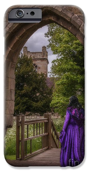 Old Churches iPhone Cases - Woman At Old Castle iPhone Case by Amanda And Christopher Elwell