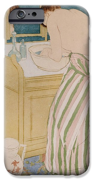 Sink iPhone Cases - Woman bathing iPhone Case by Mary Stevenson Cassatt
