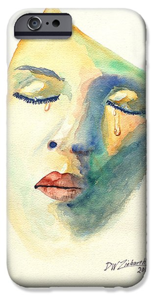Torn iPhone Cases - Woman crying while trying not to iPhone Case by Dale Ziebarth