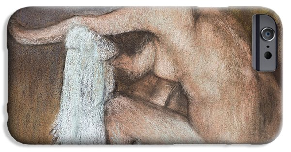 Lady Pastels iPhone Cases - Woman Drying her Arm iPhone Case by Edgar Degas