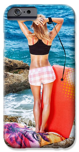 Board iPhone Cases - Woman enjoying beach activity iPhone Case by Anna Omelchenko