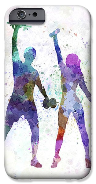 Recently Sold -  - Couple iPhone Cases - Woman Exercising With Man Coach iPhone Case by Pablo Romero