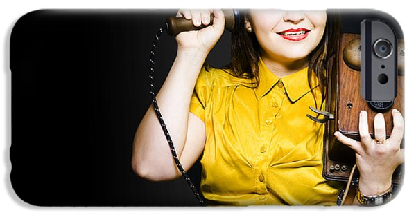 Absorb iPhone Cases - Woman gossiping on vintage phone iPhone Case by Ryan Jorgensen