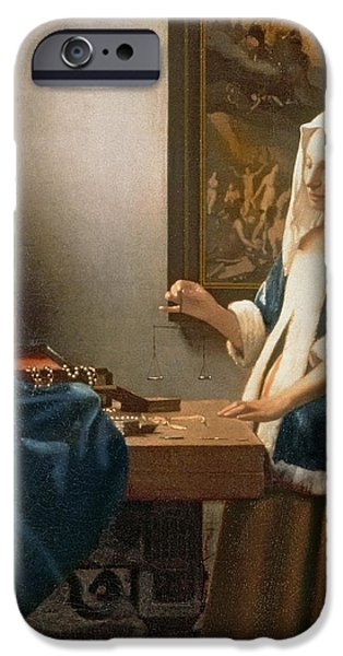 Soul iPhone Cases - Woman Holding a Balance iPhone Case by Jan Vermeer