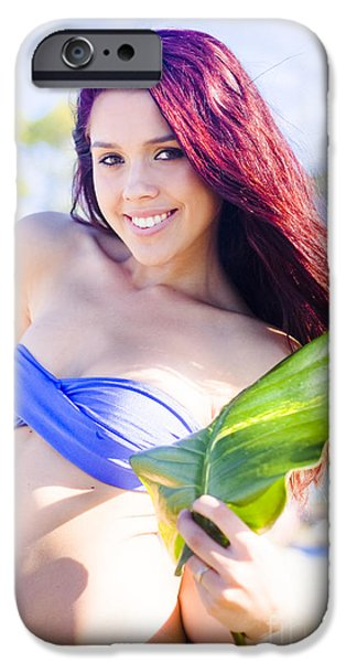 Youthful iPhone Cases - Woman Holding Leaf iPhone Case by Ryan Jorgensen