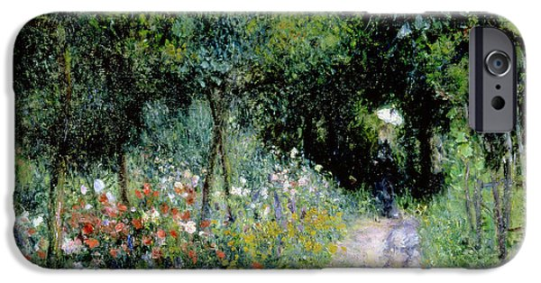 Pathway iPhone Cases - Woman in a Garden iPhone Case by Pierre Auguste Renoir