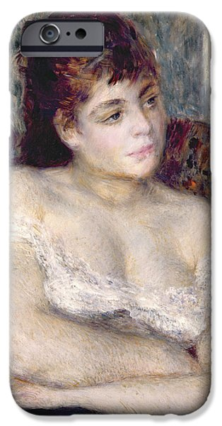 Young iPhone Cases - Woman in an Armchair iPhone Case by Pierre Auguste Renoir
