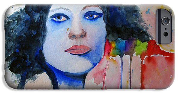 Gray Hair iPhone Cases - Woman in Blue iPhone Case by Sandy McIntire