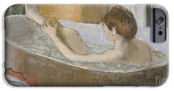 Pastel iPhone Cases - Woman in her Bath iPhone Case by Edgar Degas