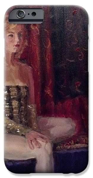 Young Paintings iPhone Cases - Woman in Sequins iPhone Case by Mary Marin