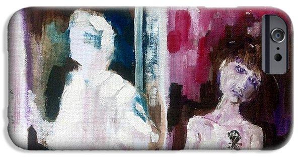 Recently Sold -  - Van Dyke Brown iPhone Cases - Woman in Window   Man in Door  iPhone Case by Chris Walker
