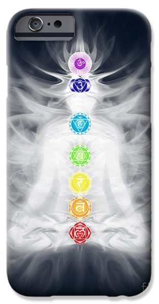 Luminous Body iPhone Cases - Woman meditating in lotus pose silhouette with Chakras and energ iPhone Case by Oleksiy Maksymenko