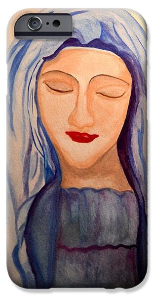 Spiritual Portrait Of Woman iPhone Cases - Woman of Faith iPhone Case by Maria Urso