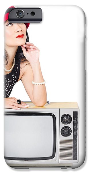 1950s Portraits iPhone Cases - Woman on retro TV. Fifties copyspace broadcast iPhone Case by Ryan Jorgensen