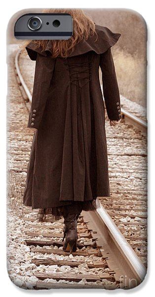 Escape iPhone Cases - Woman on Tracks iPhone Case by Jill Battaglia