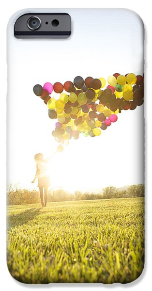 One iPhone Cases - Woman Outside With Balloons iPhone Case by Ink and Main