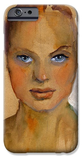 Watercolor iPhone Cases - Woman portrait sketch iPhone Case by Svetlana Novikova