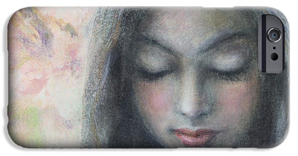 Innocence Mixed Media iPhone Cases - Woman praying meditation painting print iPhone Case by Svetlana Novikova