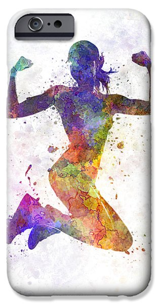Jogging iPhone Cases - Woman runner jogger jumping powerful iPhone Case by Pablo Romero