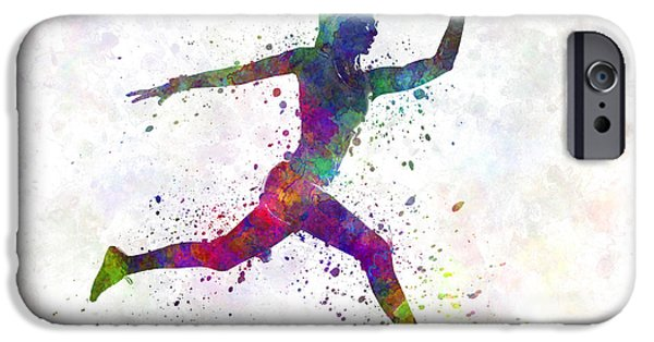 Cut-outs Paintings iPhone Cases - Woman runner running jumping iPhone Case by Pablo Romero