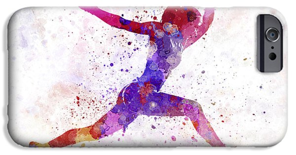 Cut-outs Paintings iPhone Cases - Woman runner running jumping shouting iPhone Case by Pablo Romero