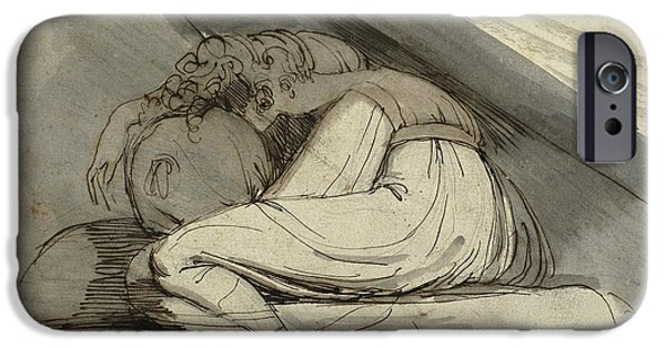 Swiss Drawings iPhone Cases - Woman Sitting Curled Up iPhone Case by Henry Fuseli