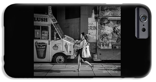 Dave iPhone Cases - Woman strolling Past Hot Dog Stand iPhone Case by Dave Hood