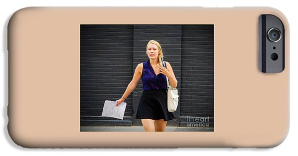 Dave iPhone Cases - Woman Walking towards iPhone Case by Dave Hood