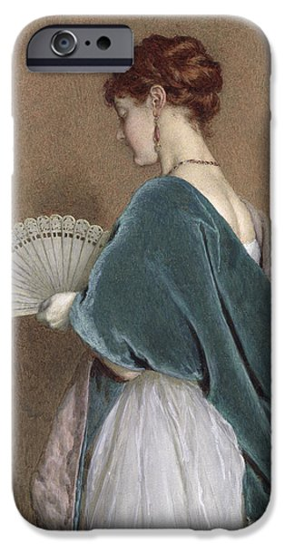 1871 iPhone Cases - Woman with a Fan iPhone Case by John Dawson Watson