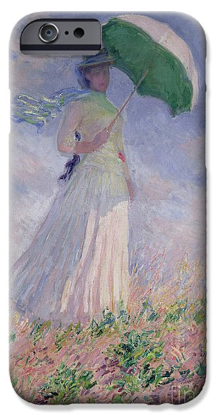 Woman iPhone Cases - Woman with a Parasol turned to the Right iPhone Case by Claude Monet