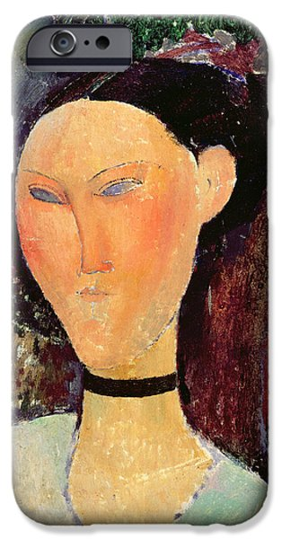 July iPhone Cases - Woman with a Velvet Neckband iPhone Case by Amedeo Modigliani