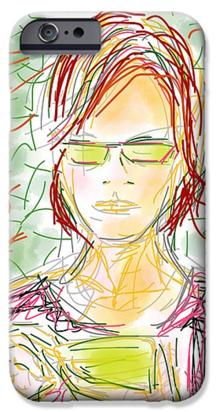 Loose Style Drawings iPhone Cases - Woman with Cell Phone ii iPhone Case by Robert Yaeger