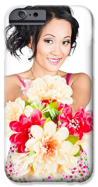 Bare Shoulder iPhone Cases - Woman with flower arrangement. Valentines day gift iPhone Case by Ryan Jorgensen
