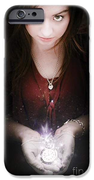 Youthful iPhone Cases - Woman With Glowing Watch iPhone Case by Ryan Jorgensen