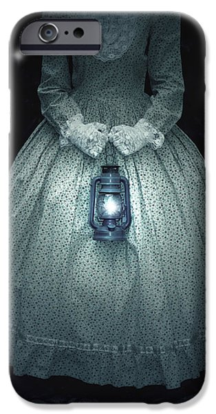 Night Lamp iPhone Cases - Woman With Lantern iPhone Case by Joana Kruse