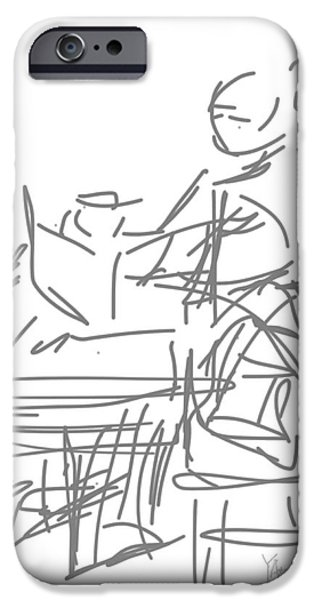 Loose Style Drawings iPhone Cases - Woman with Laptop and Coffee iPhone Case by Robert Yaeger