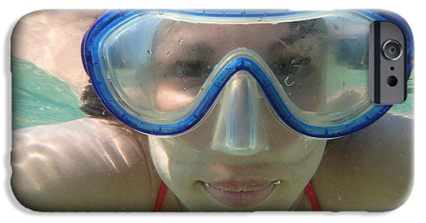 Model iPhone Cases - Woman with mask underwater iPhone Case by Newnow Photography By Vera Cepic