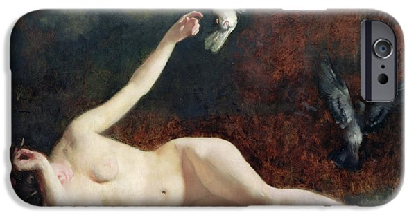 Female Body iPhone Cases - Woman with Pigeons iPhone Case by Ernst Philippe Zacharie