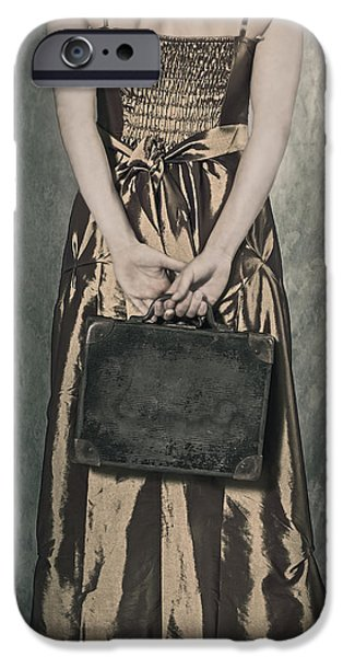 Leave iPhone Cases - Woman With Suitcase iPhone Case by Joana Kruse
